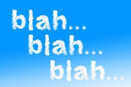 Blah blah blah su sfondo azzurro a significare gli inutili pettegolezzi che gli Angeli non vogliono