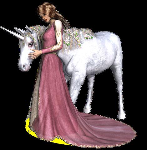 Angelo donna in abito lungo accarezza un unicorno bianco