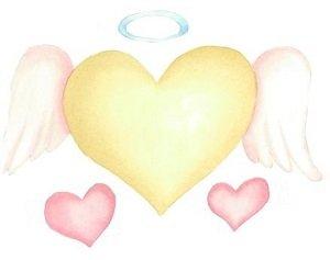 Disegno originale in acquarello di un grande cuore al centro con due piccoli cuori ai lati in basso a rappresentare l'amore incondizionato degli Angeli