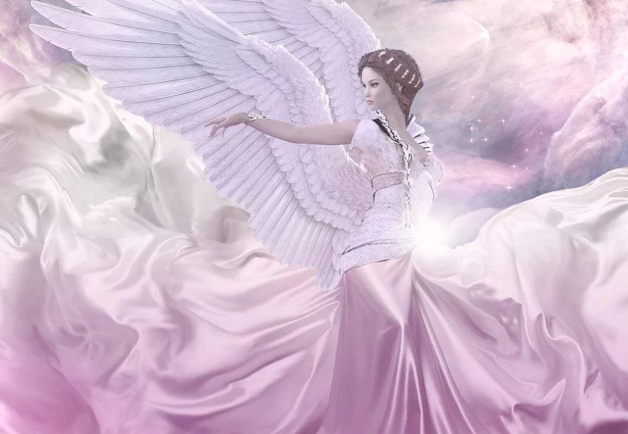 Una bellissima donna angelo con ali bianche e abito rosa su sfondo stellato... qual è il vero ruolo degli Angeli nelle nostre vite?