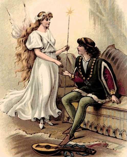 Una fata angelo parla con un nobile cavaliere